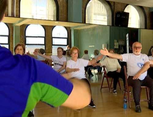 Gimnàstica per a gent gran al Club Esportiu Mediterrani